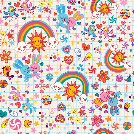 cartoon summer: rainbows, bunnies & birds pattern