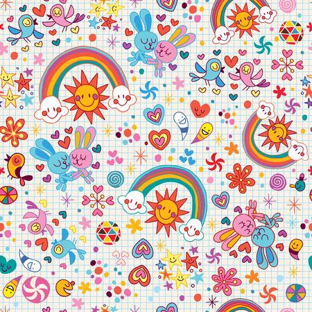 cartoon summer: rainbows, bunnies & birds pattern