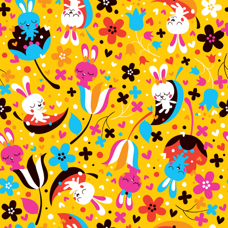 bunnies & flowers pattern Vector