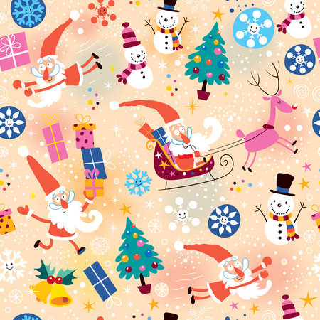 papa noel en trineo: Navidad patrón Vectores