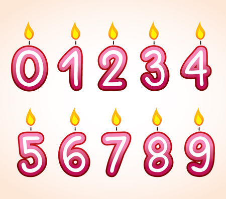 lit candles: Birthday number candle set