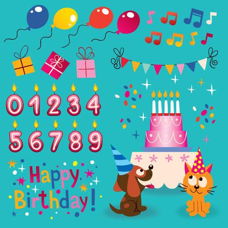 first birthday: Happy Birthday design elements set