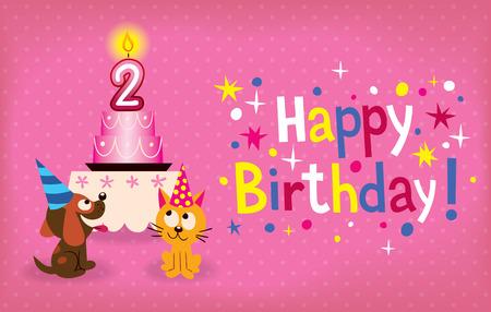 Happy Second Birthday Illustration