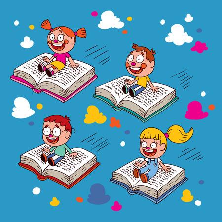 libros volando: niños volando en los libros Vectores
