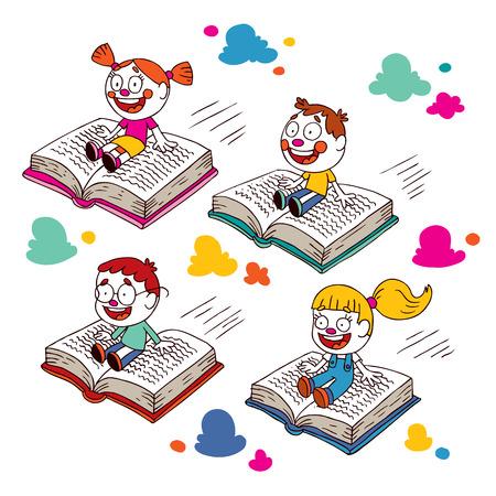 kids flying on books