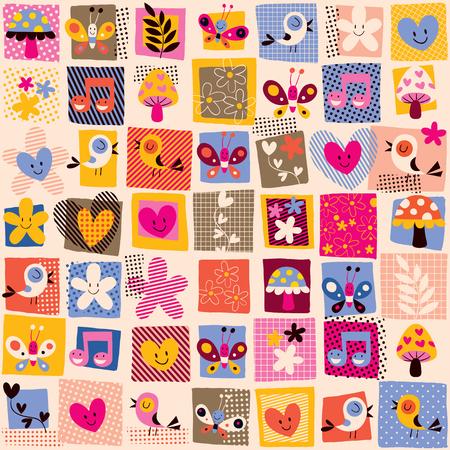 cute flowers, birds & hearts pattern Vector