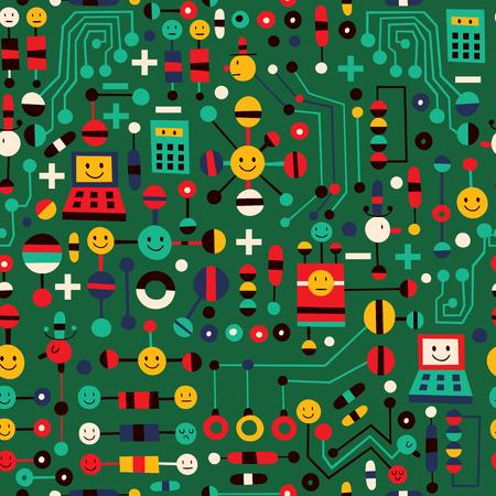 bits: cartoon circuit board Illustration