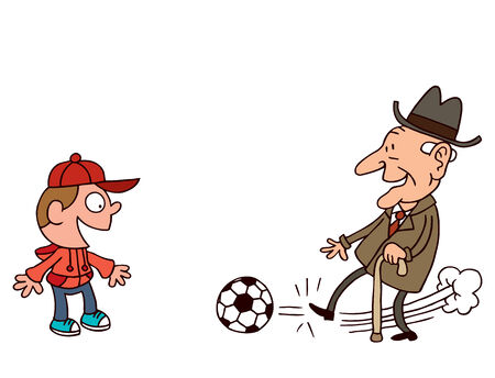 Grandfather and grandson playing football Ilustração