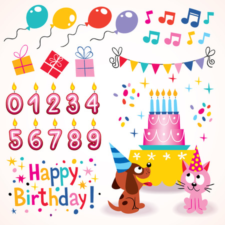 Happy Birthday design elements set Vector