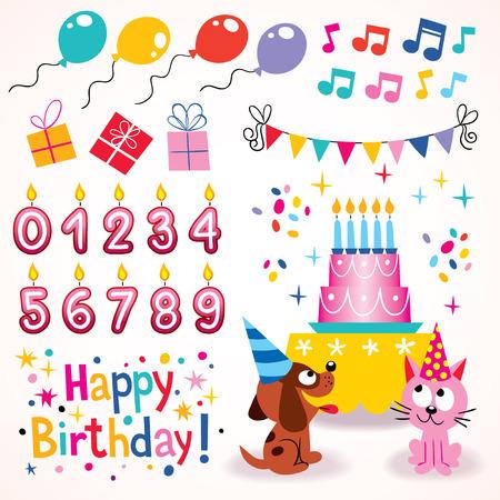 5th: Happy Birthday design elements set