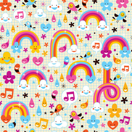 rain cartoon: clouds rainbows rain drops hearts pattern