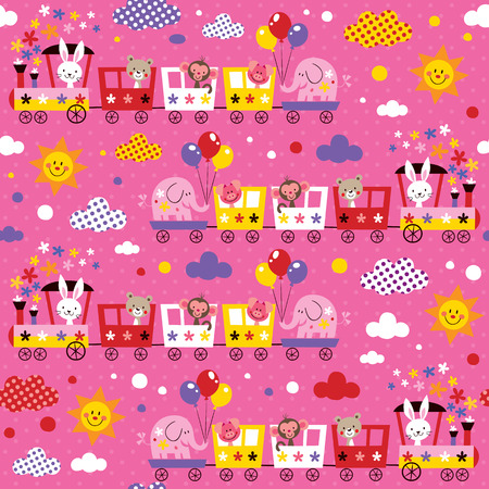 animal train kids pattern Illustration