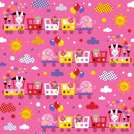 Tier Zug Kinder Muster Standard-Bild - 31818442