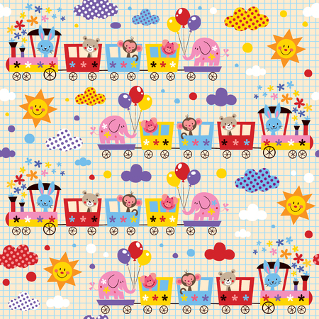 animal train kids pattern Vector