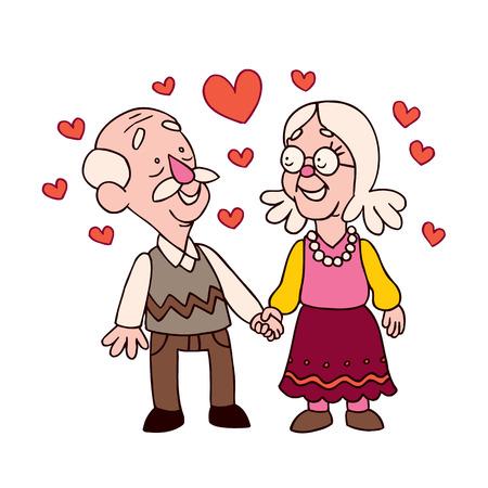 old aged: coppia di anziani Vettoriali