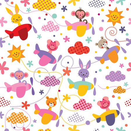 Baby animals in airplanes pattern Ilustracja