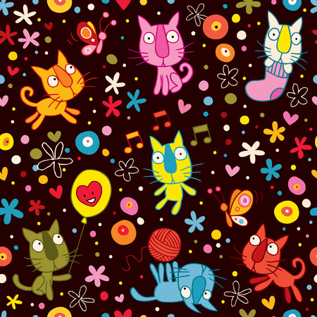 cute kittens pattern Vector
