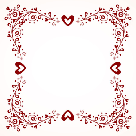 decorative frame with hearts