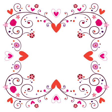 decorative frame with hearts & flowers Vector