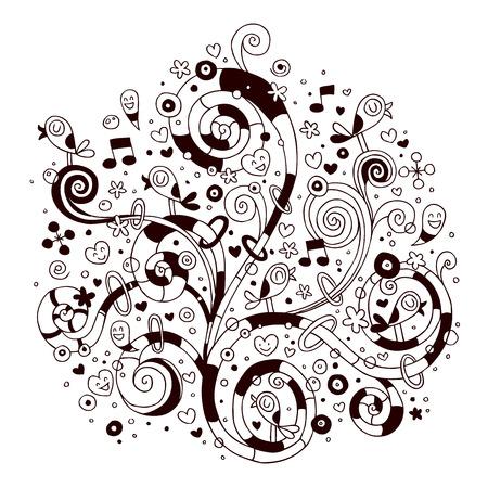 Swirls, flowers, hearts and birds Vector