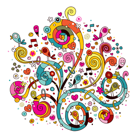 music notes vector: Swirls, flowers, hearts and birds Illustration