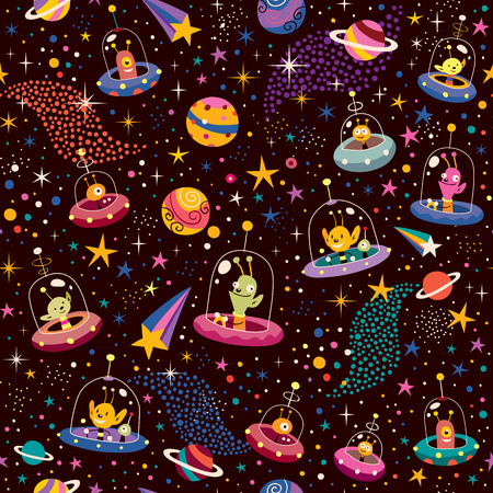 alien planet: cute aliens pattern