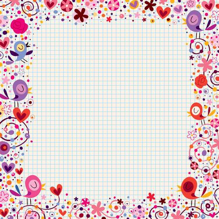 bordure floral: les oiseaux et les fleurs � la fronti�re floral Illustration