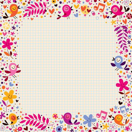 bordure floral: fronti�re floral avec des oiseaux Illustration
