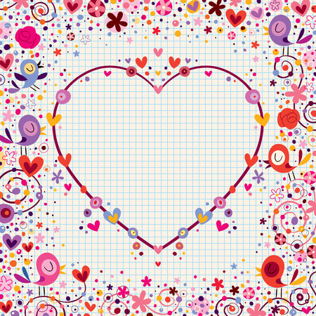 heart frame with birds and flowers Illustration