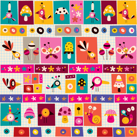 cute flowers, birds, mushrooms & snails nature collage note paper pattern Vector