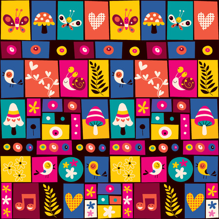 flowers, birds, mushrooms & snails collage nature pattern Vector
