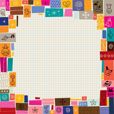 collage doodle grens Stock Illustratie