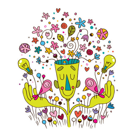 flower power: green energy concept ecology cartoon illustration Illustration