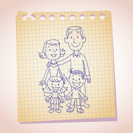 note paper: family note paper sketch Illustration