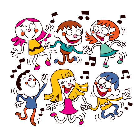 cartoon dance: Kids dancing Illustration