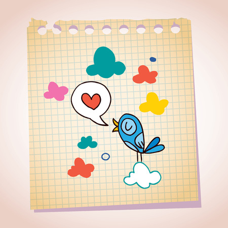 pajaro azul: mensaje nota bosquejo de la historieta de papel amor ave azul