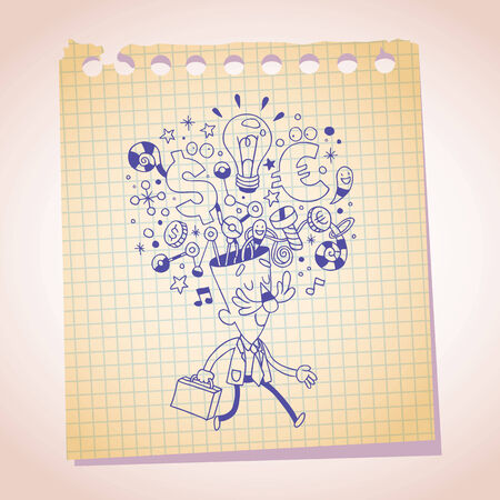 business idea concept note paper cartoon sketch Vector