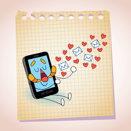 Cell phone sending love messages note paper cartoon sketch Vector