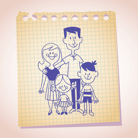 note paper: family of four note paper sketch
