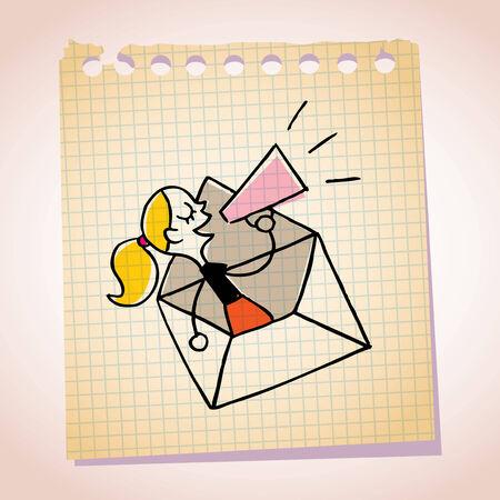 loudhailer: nota loudhailer bosquejo de la historieta mensaje papel chica