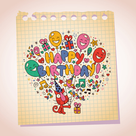 catchy: Happy Birthday cute kitten note paper cartoon sketch Illustration