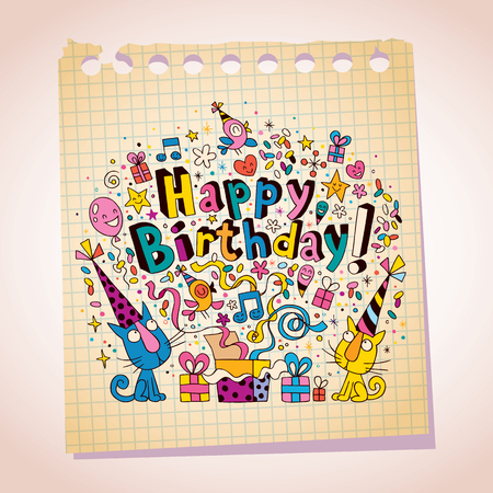 Happy Birthday cute kittens note paper cartoon sketch Vector