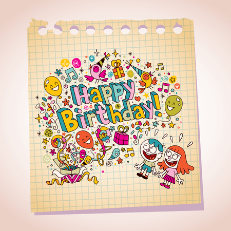 Happy Birthday kids note paper cartoon illustration Vector