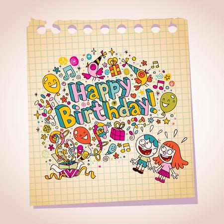 Happy Birthday kids note paper cartoon illustration Vector