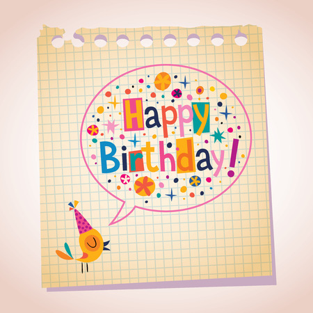 catchy: Happy Birthday note paper cartoon illustration
