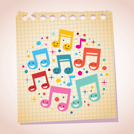 Happy music notes note paper cartoon illustration Vettoriali