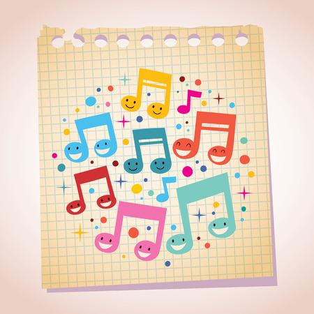 Happy music notes note paper cartoon illustration Ilustracja