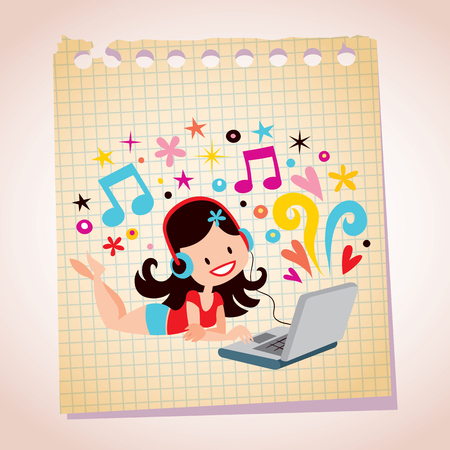 girl with laptop: Headphones laptop pretty girl note paper cartoon illustration Illustration