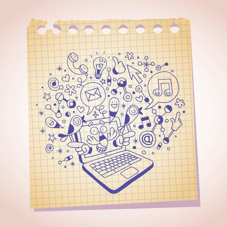 note paper: laptop concept note paper cartoon sketch