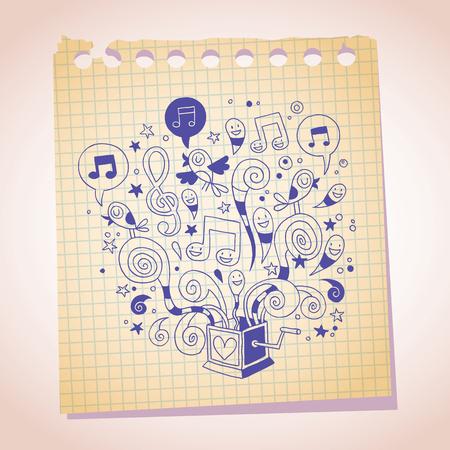 boite a musique: bo�te � musique note dessin de bande dessin�e de papier